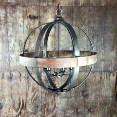 "6 Light Metal Wood Sphere  26"" Round"