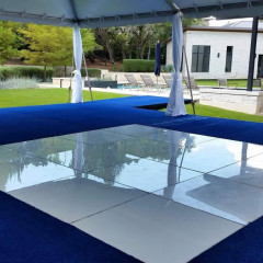 White Acrylic Floor with Blue Carpet